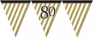 Wimpelkette 80. Geburtstag Black and Gold