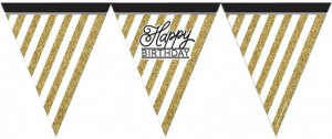 Wimpelkette Happy Birthday Geburtstag Black and Gold