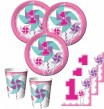 16 Servietten Windrad Pink