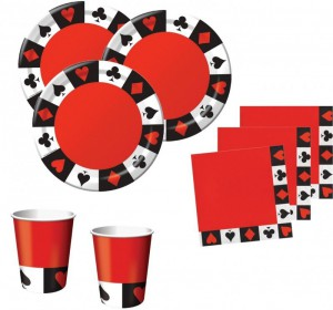 48 Teile Poker Motto Party Basis Deko Set 16 Personen