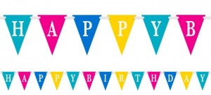 buntes Wimpel Banner Happy Birthday