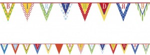 Buntes Muster Wimpel Banner Happy Birthday