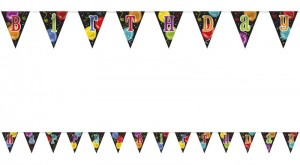 Buntes Wimpel Banner Happy Birthday Ballons