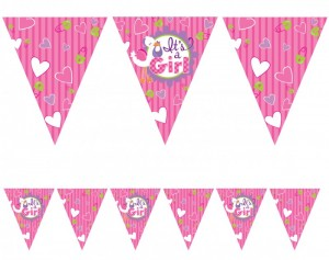 Wimpelkette Baby Shower Storch Rosa