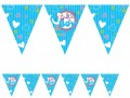 Wimpelkette Baby Shower Storch Blau