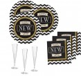 34 Teile Silvester und Neujahrs Party Deko Set 8 Personen - Black and Gold