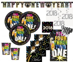 XXL 2018 Silvester Happy New Year Countdown Deko Set 8 Personen