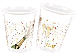 8 Plastik Becher Champagner Party