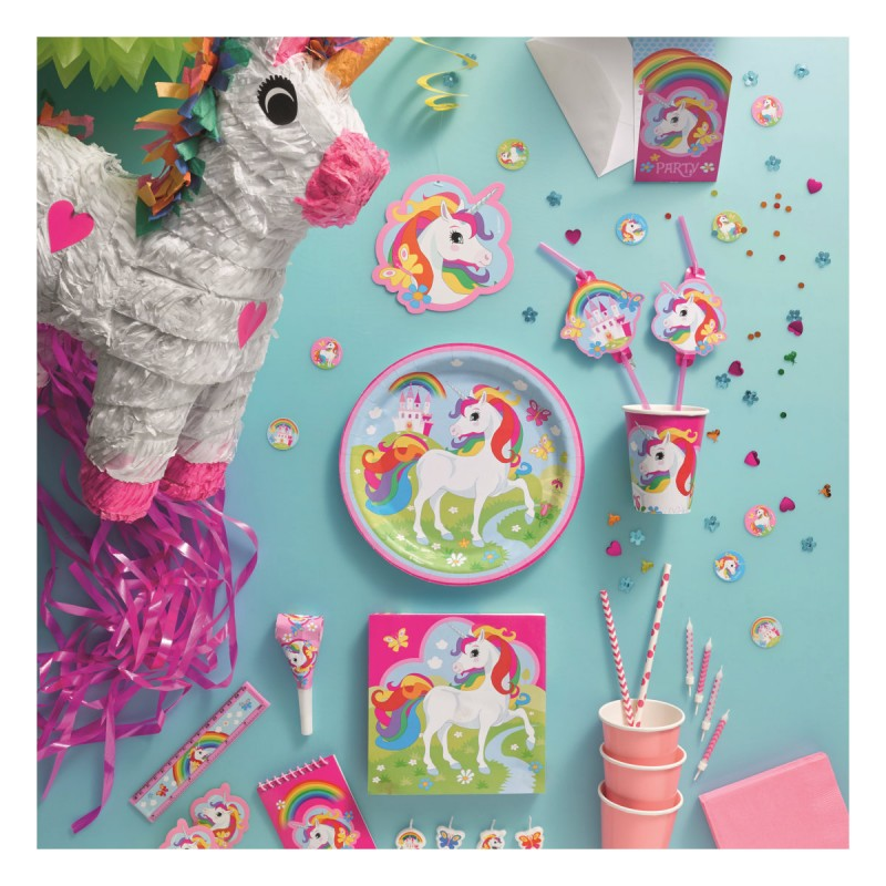 36 teile regenbogen einhorn party deko set f r 8 kinder. Black Bedroom Furniture Sets. Home Design Ideas