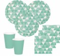 32 Teile Party Deko Set Mint Fractals für 8 Personen