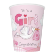 8 Becher Baby Storch Rosa