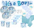 67 Teile Baby Shower Deko Set Storch Hellblau 16 Personen
