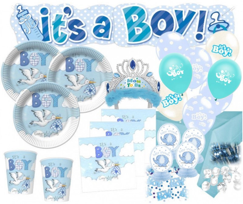 Xxl 79 teile baby shower deko set storch hellblau 16 for Baby shower party deko