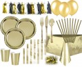 XXL 71 Teile Party Deko Set Gold Glanz für 6-8 Personen