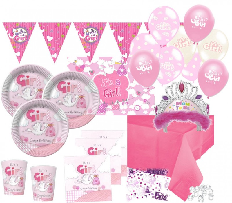 Xxl 75 teile baby shower deko set rosa storch 16 personen for Baby shower party deko
