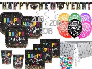 XXL 44 Teile 2018 Silvester Happy New Year Confetti Deko Set für 8 Personen
