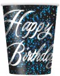 8 Happy Birthday Becher in Schwarz Blau foliert