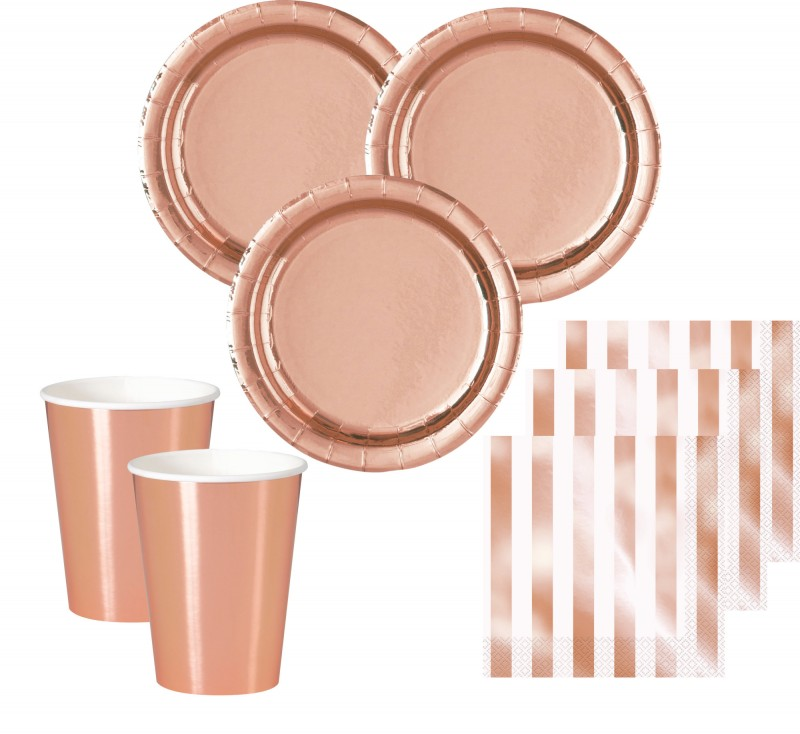 32 teile party deko set rose gold glanz f r 8 personen for Rosegold deko